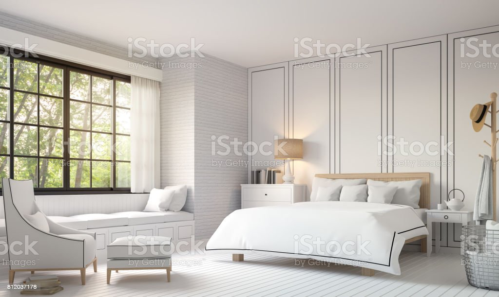 Modern vintage bedroom with black and white 3d rendering image. stock photo