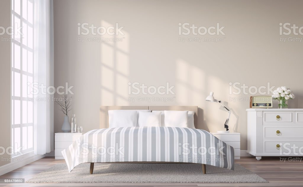 Modern vintage bedroom with light brown wall 3d render stock photo