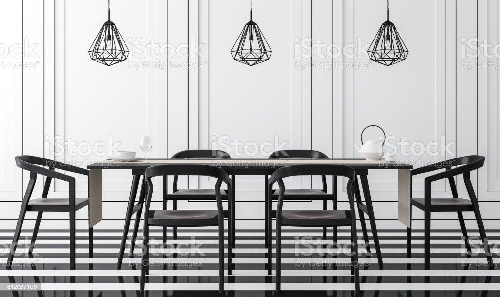 Moderno Comedor Vintage Con Blanco Y Negro 3d Renderizado ...