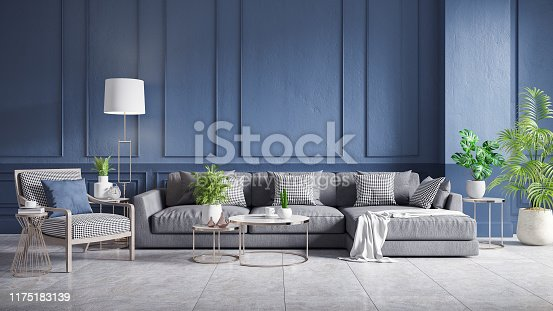 610958498 istock photo Modern vintage interior of living room, gray sofa with wood armchair and cofee table on concrete floor tiles and dark blue wall,3d rendering 1175183139