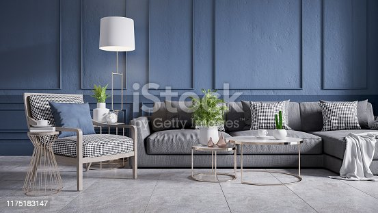 610958498 istock photo Modern vintage interior of living room, gray sofa with wood armchair and cofee table on concrete floor tiles and dark blue wall,3d rendering 1175183147