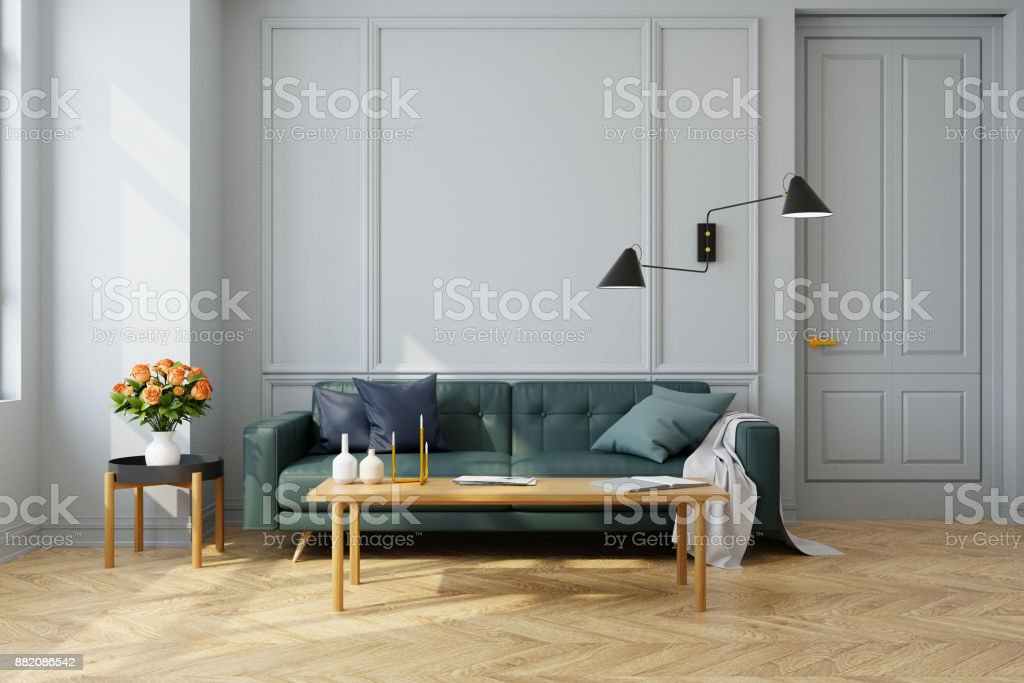 Modern Vintage Interior Of Living Room Green Sofa With Wall ...