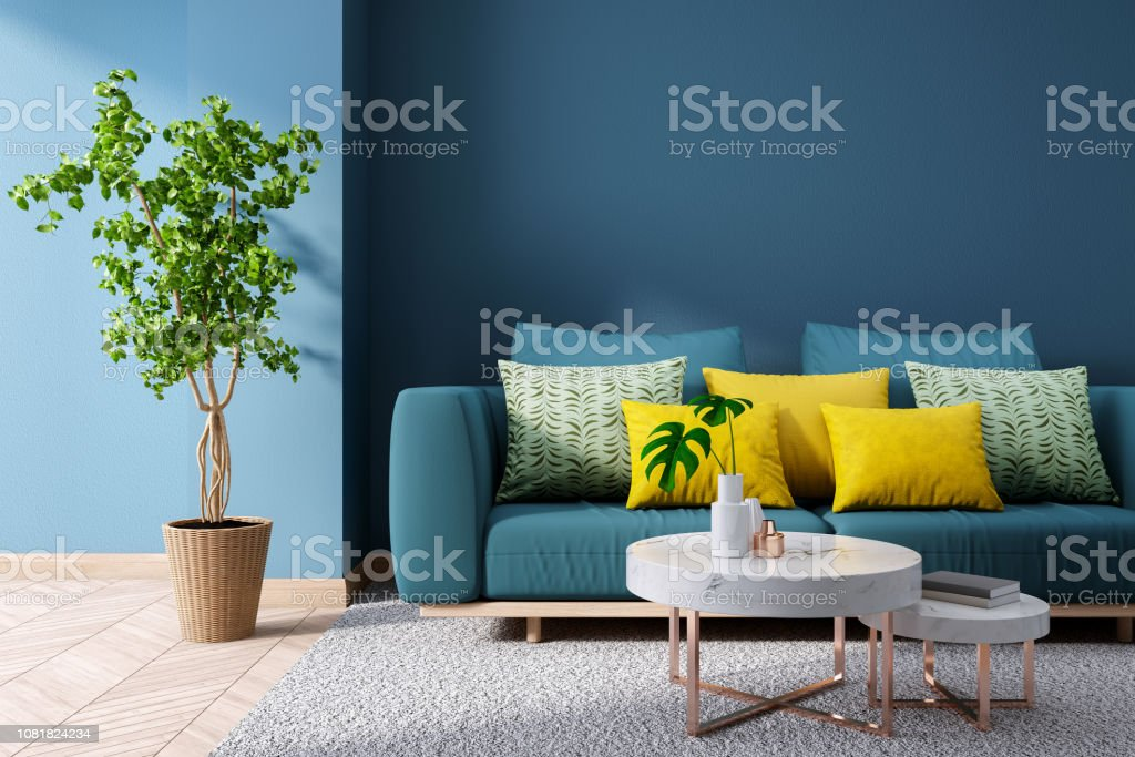 Modern Vintage Interior Of Living Roomblueprint Home Decor Concept Green Couch With Marble Table On Blue Wall And Hardwood Flooring 3d Render Stock Photo Download Image Now Istock