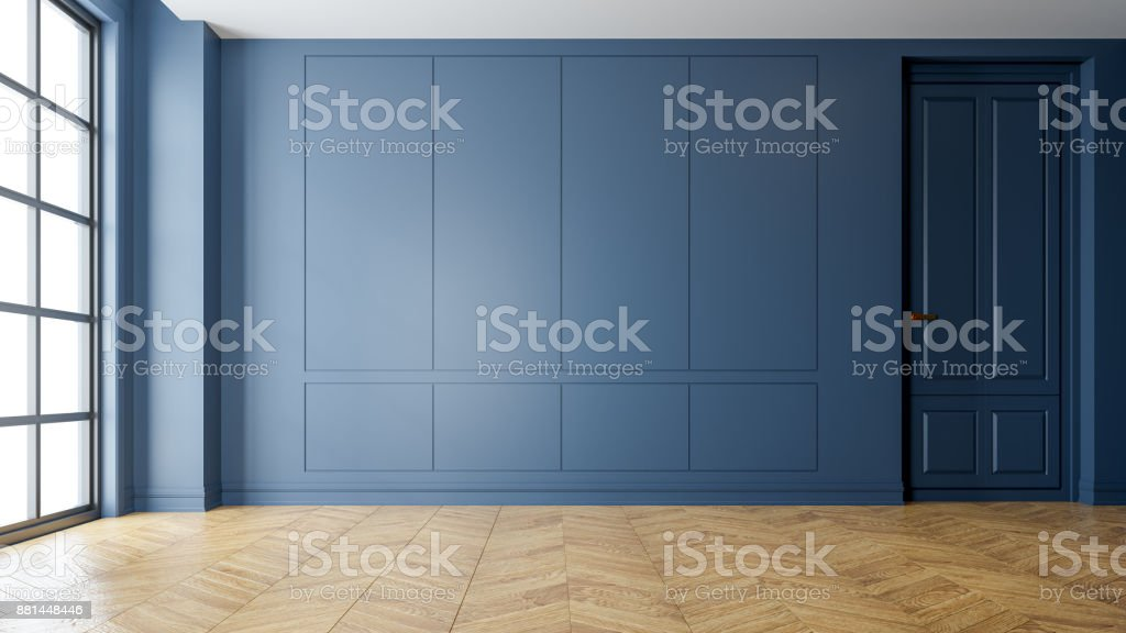 Modern vintage interior of living room,parquet flooring and blue wall,empty room  ,3d rendering stock photo