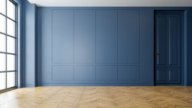 現代復古室內客廳, 鑲木地板和藍色牆壁, 空房間, 3d 渲染 - 大廈樓層 個照片及圖片檔