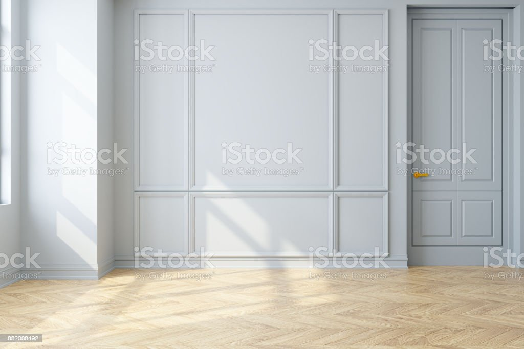 Modern vintage interior of living room,parquet flooring and white wall,empty room  ,3d rendering stock photo
