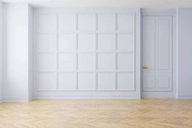 リビング ルーム、寄せ木張りの床、白い壁、空の部屋、3 d レンダリングのモダンなヴィンテージ インテリア ストックフォト
