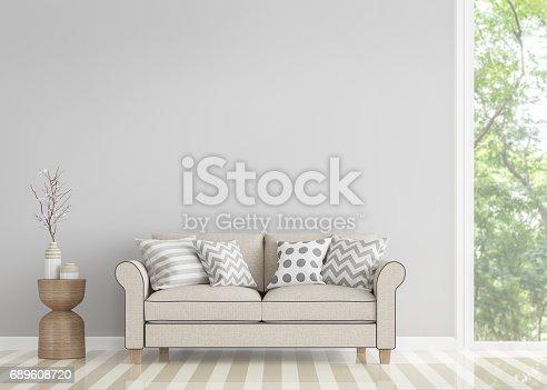 902720222 istock photo Modern vintage living room 3d rendering image 689608720