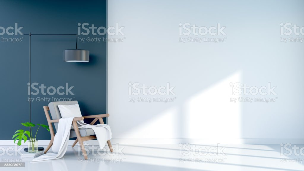 Modern vintage living room design Interior , Gray armchair with black floor lamp on  white and dark gray wall background. 3D rendering stock photo