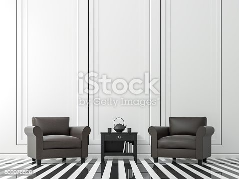 902720222istockphoto Modern vintage living room with black and white 3d rendering image 802076826
