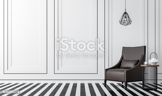 istock Modern vintage living room with black and white 3d rendering image 806594078