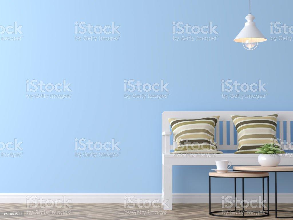 Photo de stock de Modern Salon Vintage Avec Image De Rendu 3d Mur Bleu  images libres de droit et plus d\'images de A la mode