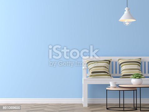994217090istockphoto Modern vintage living room with blue wall 3d rendering image 891069600