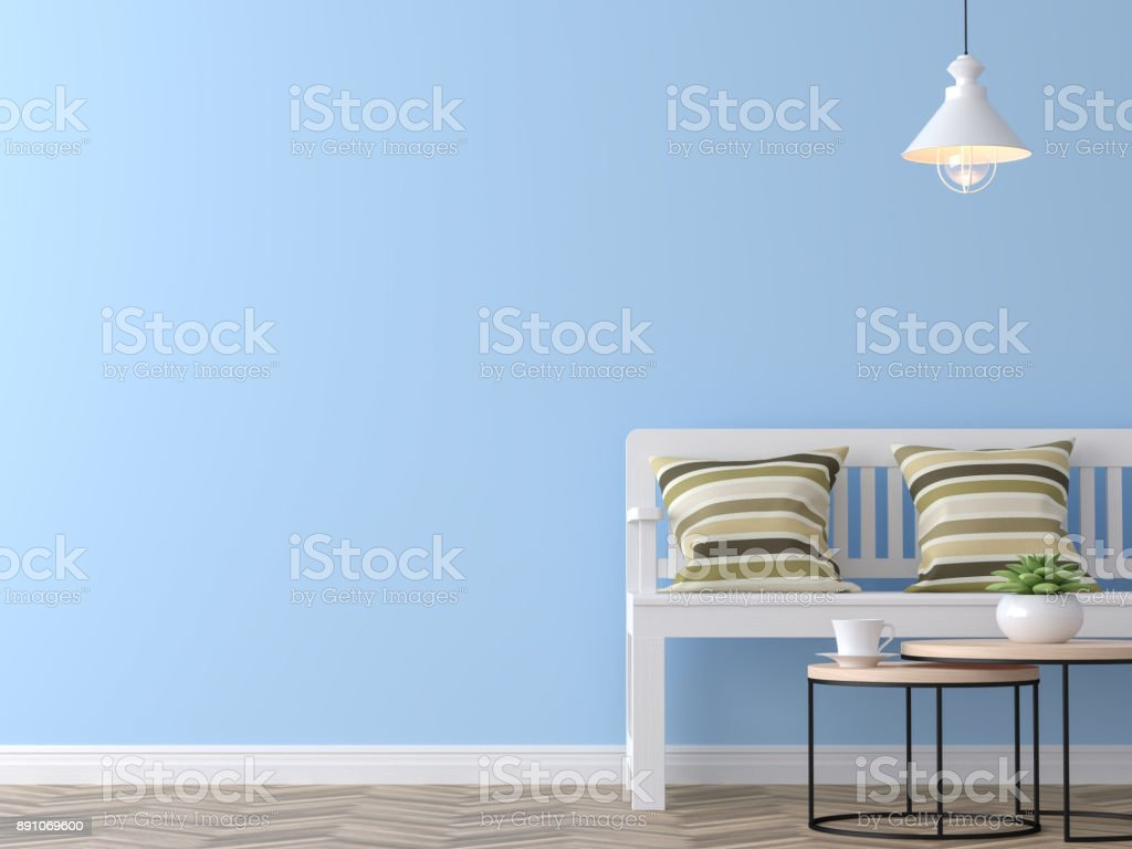 Modern vintage living room with blue wall 3d rendering image stock photo