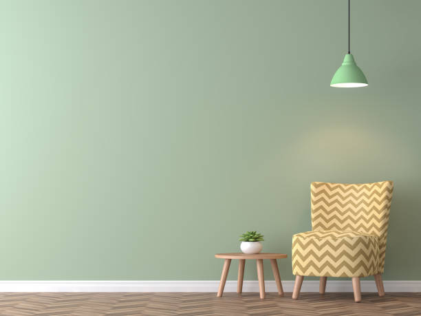 modern vintage living room with green wall 3d rendering image - retro decor stock photos and pictures