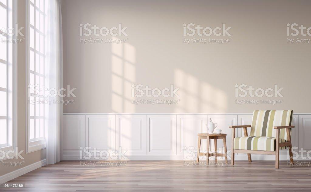 Moderna sala vintage con render 3d de pared marrón foto de stock libre de derechos