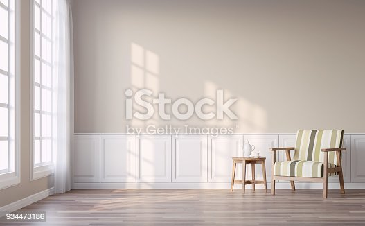 istock Modern vintage living room with light brown wall 3d render 934473186
