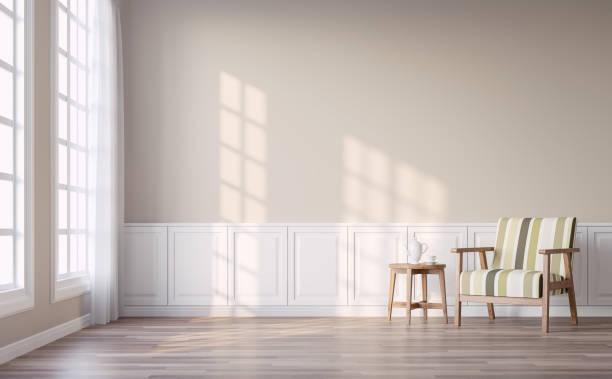 nowoczesny salon vintage z jasnobrązowym ścieną renderowania 3d - beżowy zdjęcia i obrazy z banku zdjęć