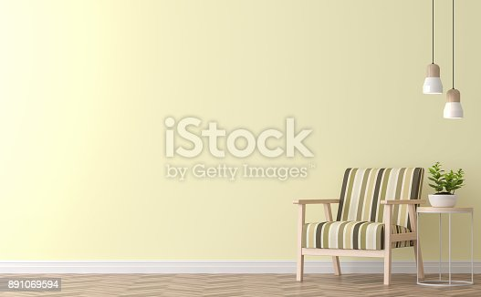 994217090istockphoto Modern vintage living room with yellow wall 3d rendering image 891069594
