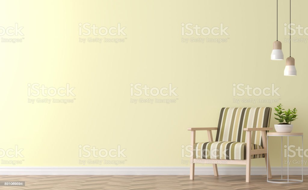 Modern vintage living room with yellow wall 3d rendering image stock photo