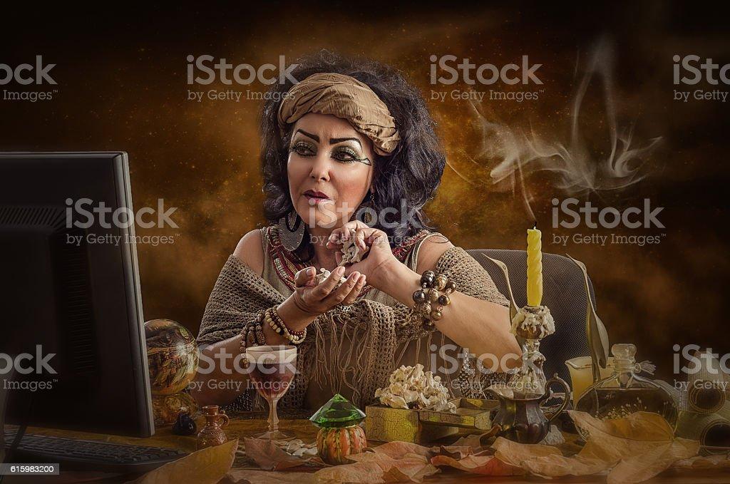 Modern virtual Egyptian soothsayer stock photo