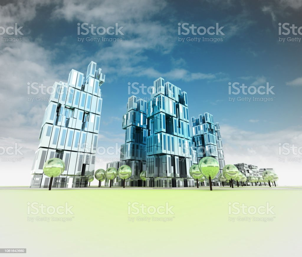 modern visualization city of future with sky and reflections stock photo