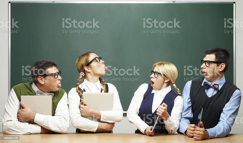Modern vs classical nerds royalty-free stock photo