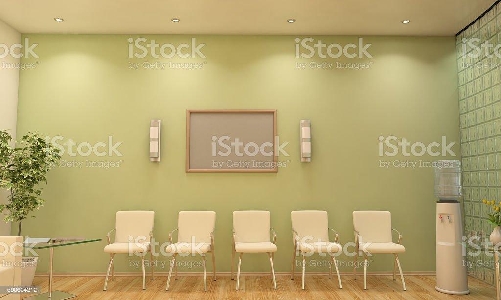 Modern Waiting Room / Lobby Interior Scene With Blank Frame stock photo