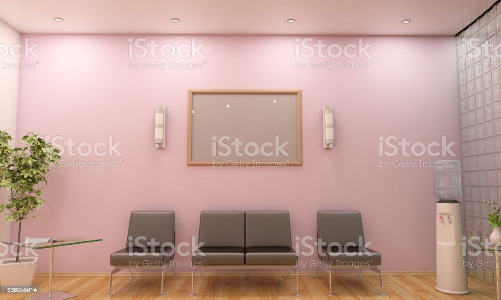 Modern Waiting Room Lobby Interior Scene With Blank Frame Stock ...
