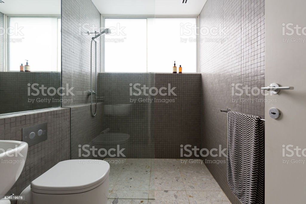 Modern Walk In Shower With Mosaic Full Height Tiles And