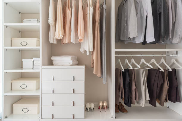 modern wardorbe with set of clothes stock photo