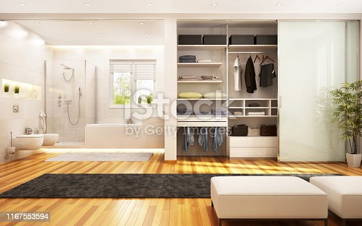 Modern wardrobe and bathroom are combined with a bedroom