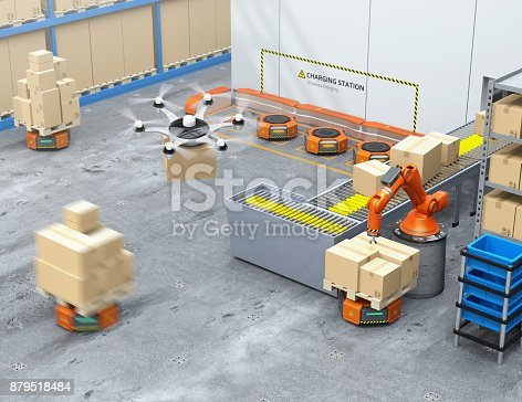 istock Modern warehouse equipped with robotic arm, drone and robot carriers 879518484