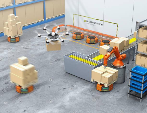 moderna lager utrustade med robotarm, drone och robot bärare - delivery robot bildbanksfoton och bilder
