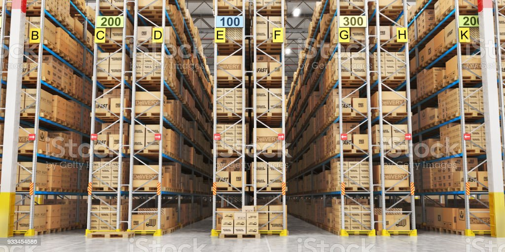 Modern warehouse full of cardboard boxes. 3d illustration stock photo