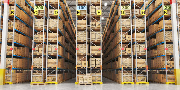 modern warehouse full of cardboard boxes. 3d illustration - warehouse stock photos and pictures