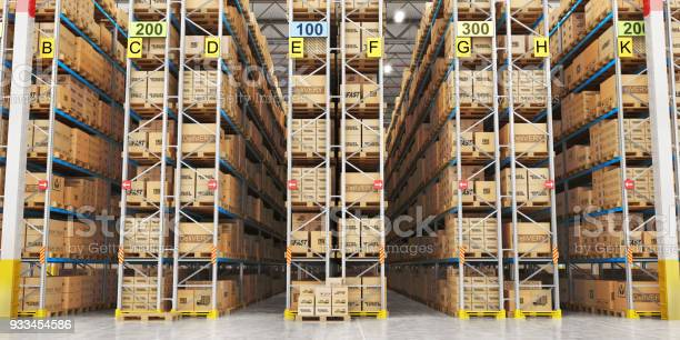 Modern Warehouse Full Of Cardboard Boxes 3d Illustration Stock Photo - Download Image Now