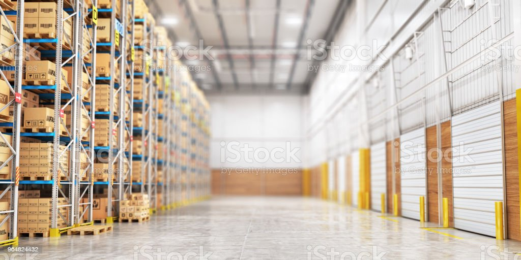 Modern warehouse full of cardboard boxes. 3d illustration royalty-free stock photo