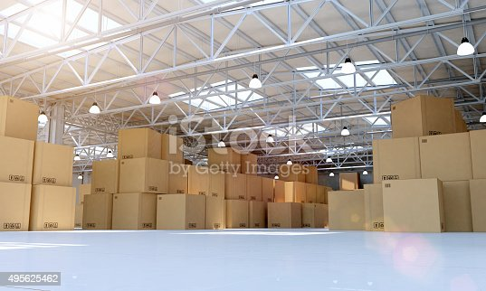 istock Modern warehouse full of goods, cardboard boxes and merchandise 495625462