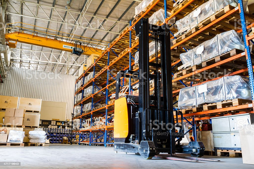 Modern warehouse with forklifts royalty-free stock photo
