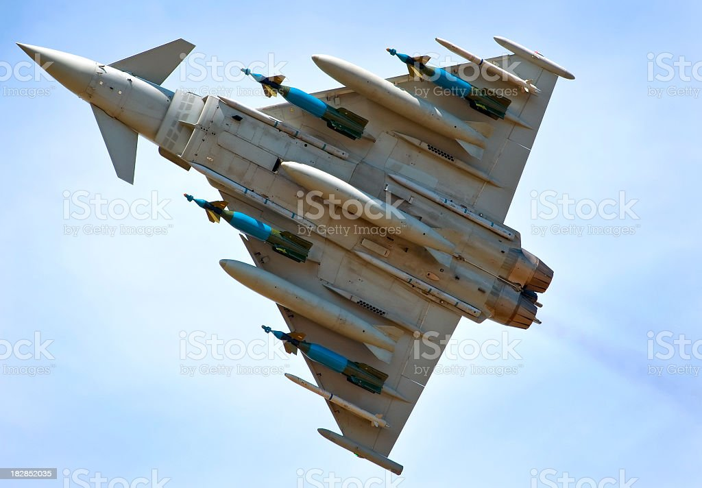 Modern warplane from a ground view royalty-free stock photo