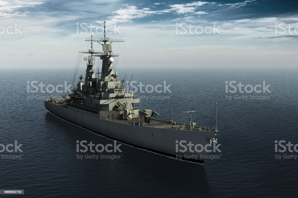 Modern Warship In High Seas stock photo