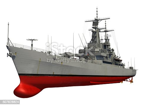 istock Modern Warship Over White Background 507628824