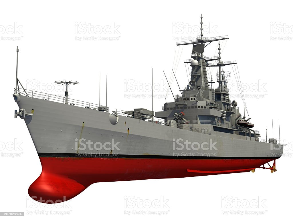 Modern Warship Over White Background stock photo