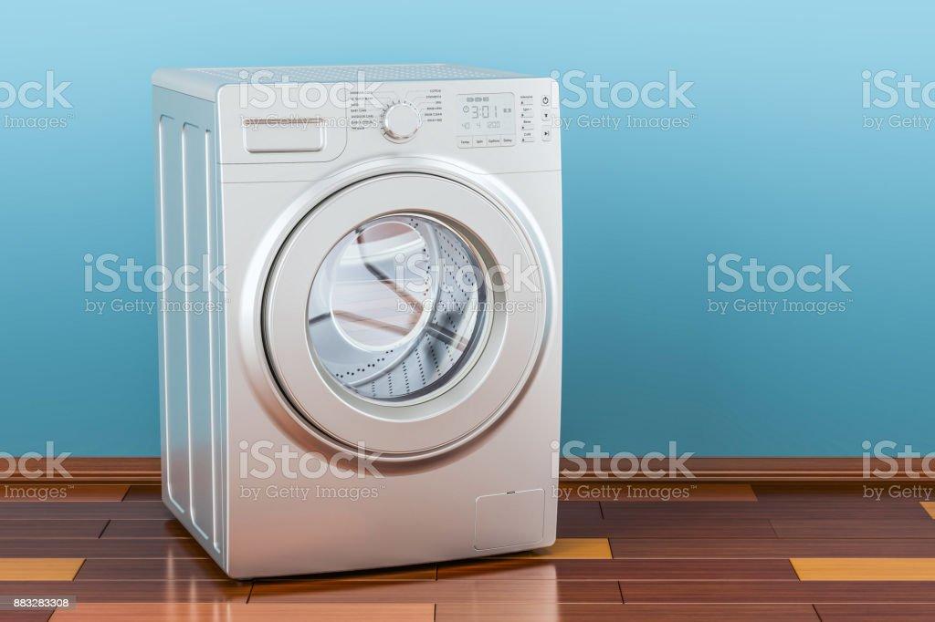 Modern Washing Machine In Room On The Wooden Floor 3d Rendering