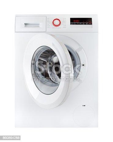 istock modern washing machine, open, isolated on white bakcground 860864288