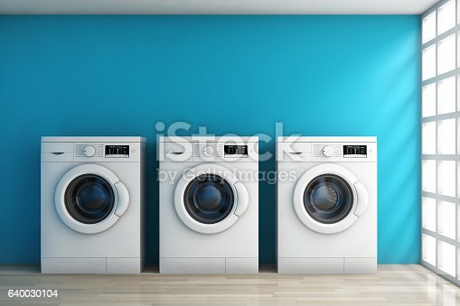 istock Modern Washing Machines in the Room. 3d Rendering 640030104