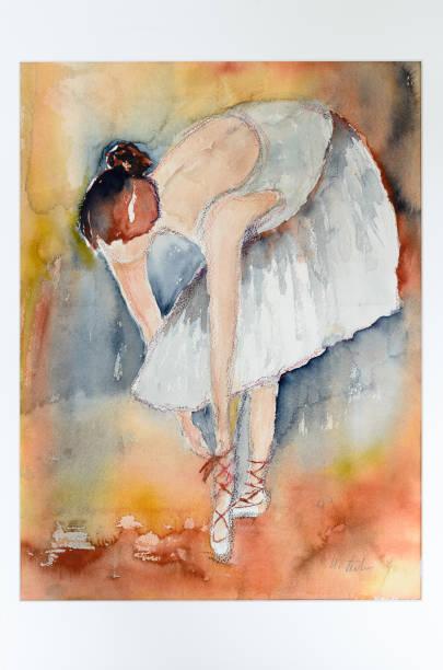 moderne kunst aquarell malerei einer ballerina - malerei schuhe stock-fotos und bilder