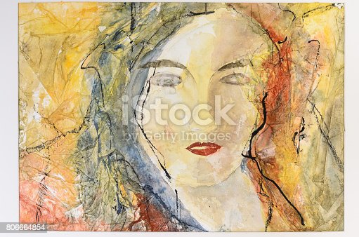 istock Modern watercolor portrait of a young woman 806664854