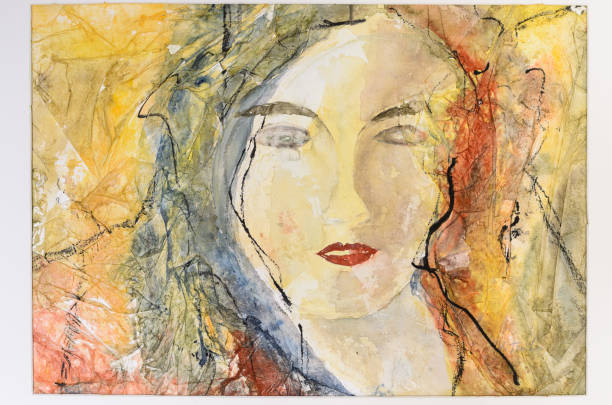 Modern watercolor portrait of a young woman stock photo